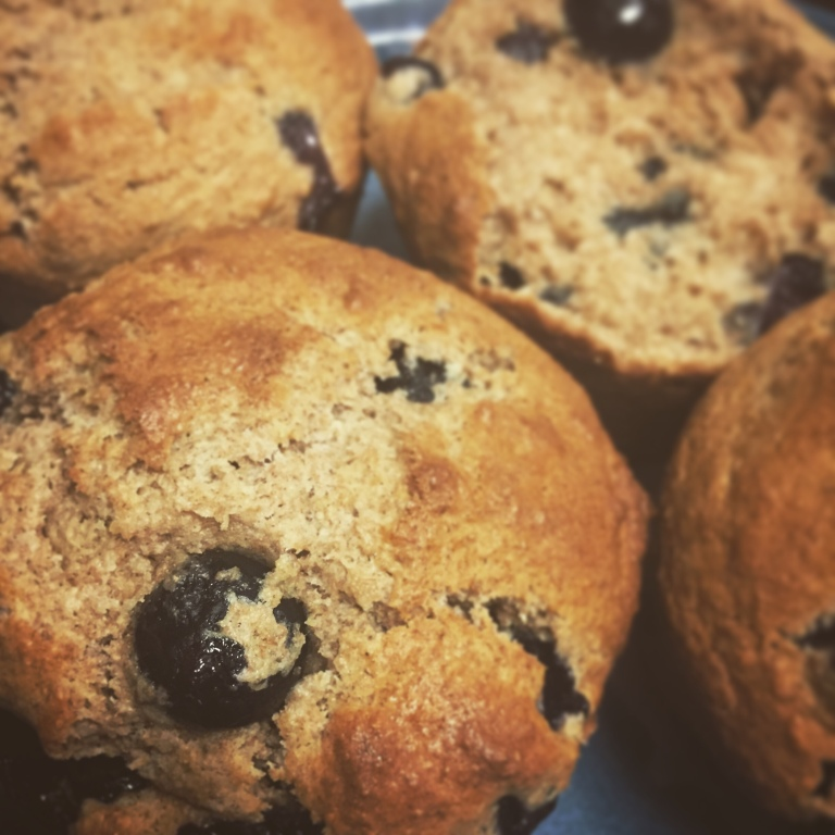 Whole wheat buttermilk blueberry muffins